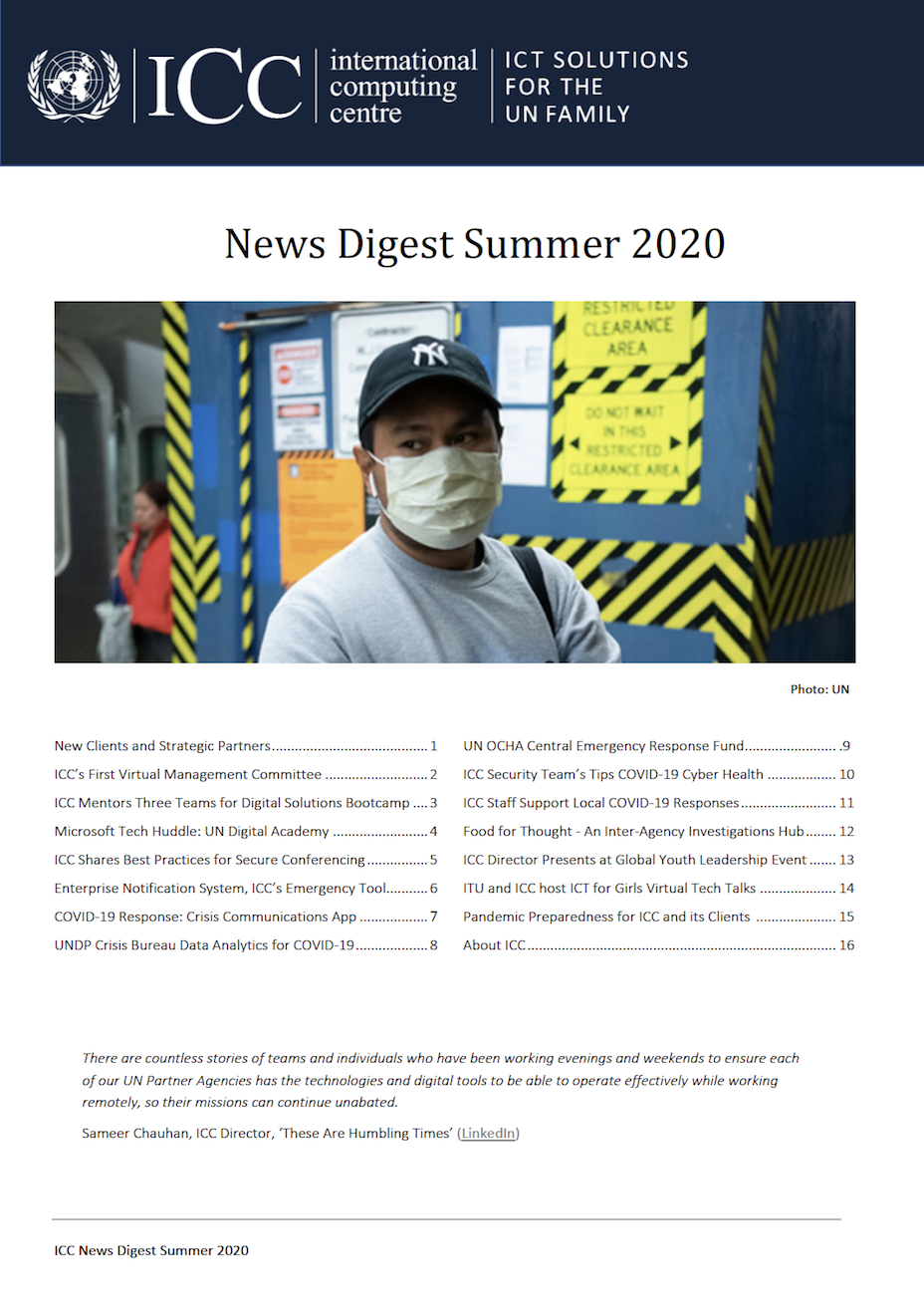 UNICC News Digest Summer 2020